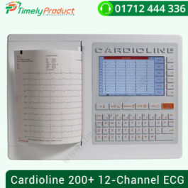 Cardioline 200+ 12-Channel ECG The Cardioline ECG200 + is the recent developed 12-lead ECG channel for displaying, acquiring, printing (on A4 z-fold paper) and storing ECG examinations. ECG 200 + extracts critical ECG parameters and can generate interpretation and diagnosis when mounted with Glasgow Interpretation as an alternative. The algorithm of interpretation offers a high degree of precision as it analyzes particular patient requirements such as sex, age, gender, and ethnicity. A physician who completes the medical report before storing and exporting the information must review and validate this diagnosis. ECG200 + offers the most popular data management interfaces (DICOM, HL7, XML) with seamless connectivity. It can be completely incorporated into current workflows in hospitals or clinics and is completely equipped for use in telemedicine. Latest generation front end ensuring high quality, constant traces, accurate measurements, fast and accurate procurement of ECGs that exceed the strictest procurement requirements (AAMI, ANSI, AHA, ACC). Glasgow interpretation algorithm to ensure the highest level of results when analyzing the ECG of adults, kids, and kids in rest. A number of interaction and bidirectional connectivity functions (USB, LAN) with the primary clinical and demographic information management systems. Different SCP (standard accessible) export formats and procedures, XML-PDF-GDT included in the normal connectivity option, DICOM (included in the DICOM connectivity option) and HL7 (optional) for communication with all conventional management devices. Large, high-quality color screen for displaying traces in actual time and ensuring fast and secure graph acquisition. A4 heat printer with high resolution and various printing formats. Long-lasting battery for heavy ward use. The user-friendly interface and alphanumeric keypad make it easy to use.
