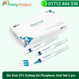 Dia-Etch 37Dia-Etch 37% Etching Gel Phosphoric Acid (2)% Etching Gel Phosphoric Acid Used for enamel and/or dentine etching, phosphoric acid etchant gel. High-quality etch removes smear layer and impurities to guarantee the free adherence of enamel and dentine tags to bonding agents and glass ionomers. Benefits: Phosphoric acid etching of enamel and dentin with perfect thickness Quick and efficient implementation to the required location Makes it possible to rinse from the tooth surface completely and readily High bio-compatibility Kit: 5 syringes, 20 mixing tips.